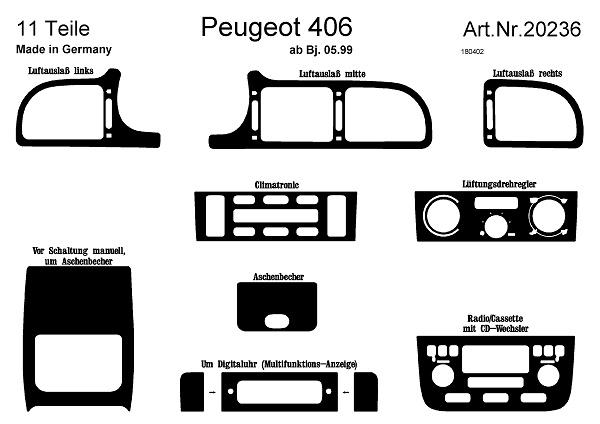 Prewoodec Interieurset Peugeot 406 5-1999- incl. CD-Wisselaar 12-delig Wortelnoot