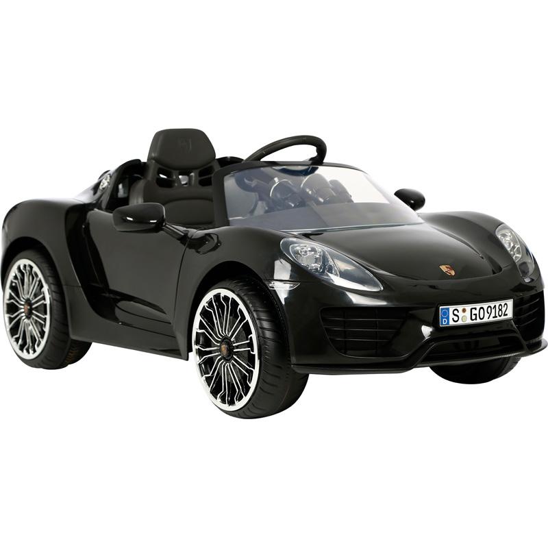 Accu-Auto Porsche 918 Spider Zwart 12V incl. MP3 en afstandsbediening vanaf 3 jaar