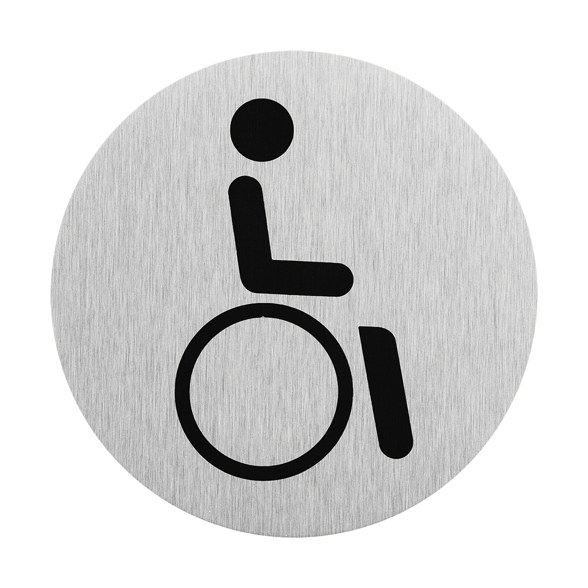 Aluminium deurbordje pictogram rolstoel bestuurder Ø75mm