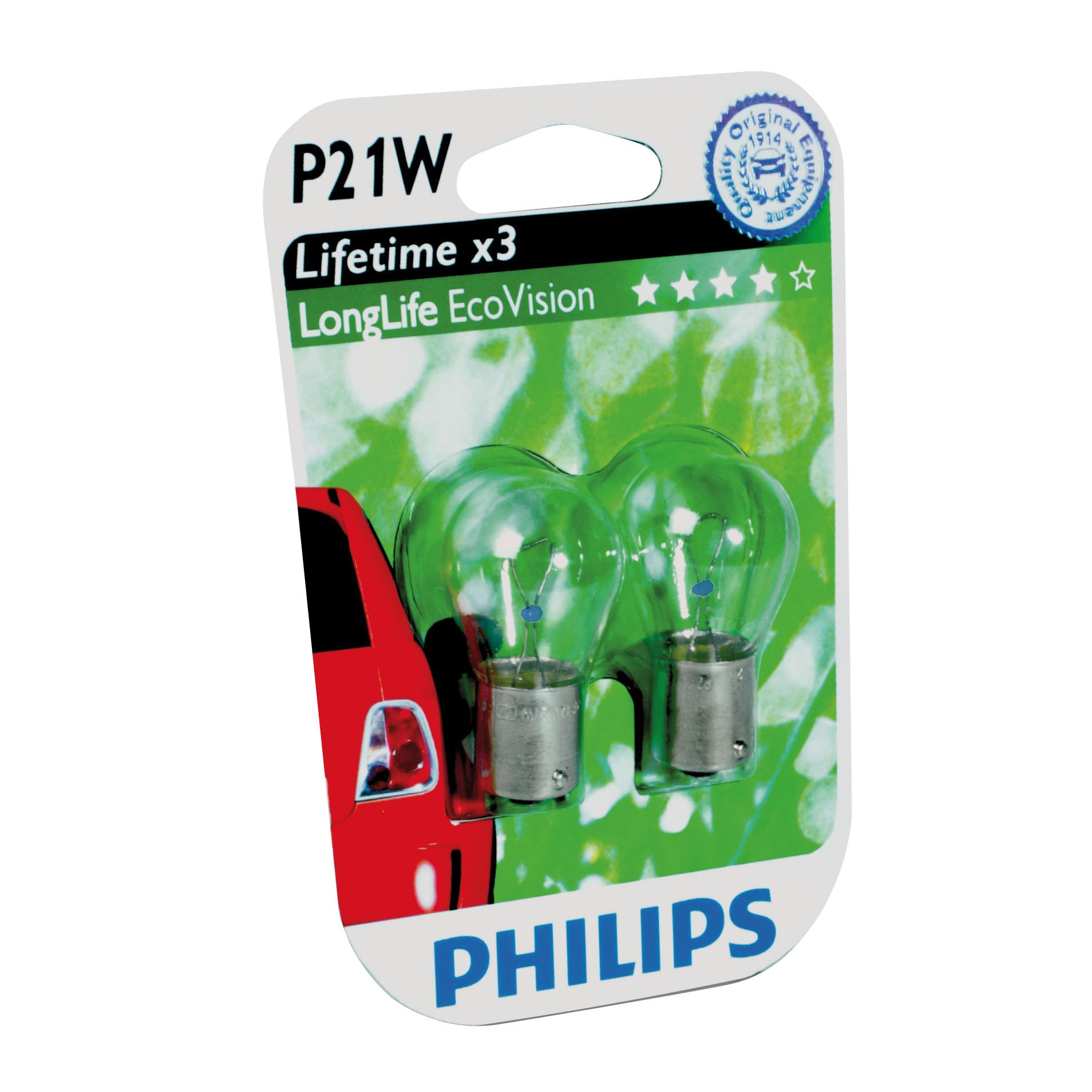 Philips 12498LLECOB2 BA15s P21W EcoVision 5W 12V blister set 2 stuks