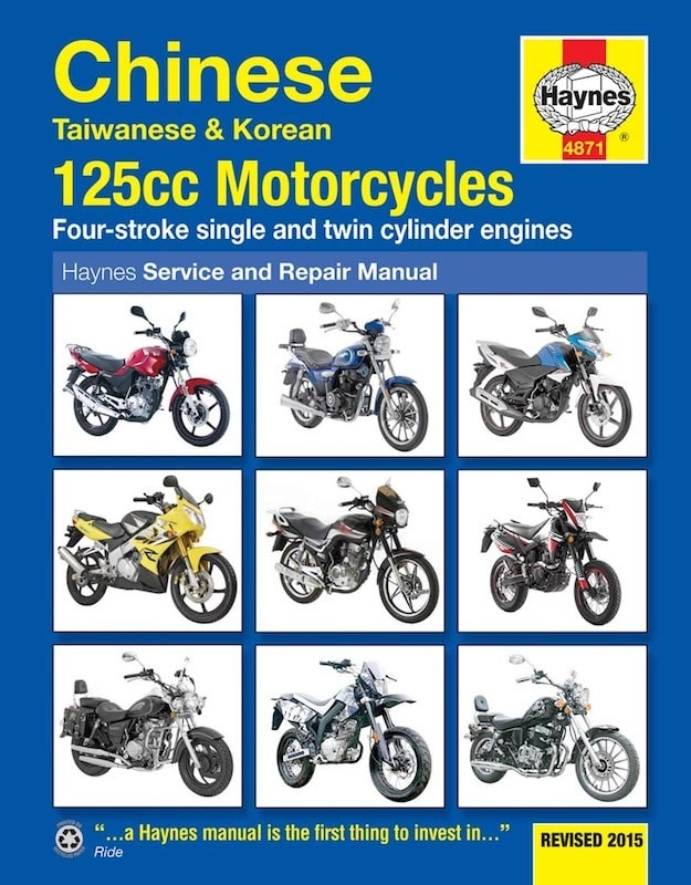Chinese, Taiwanese & Korean 125cc Motorcycles with carburettor engines (models up to 2015)