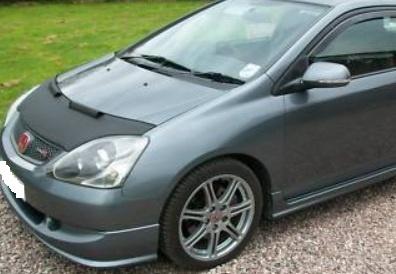 Motorkapsteenslaghoes Honda Civic 3 deurs / TypeR 2002-2004 carbon-look