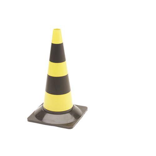 Geel-zwarte verkeerskegel 50cm