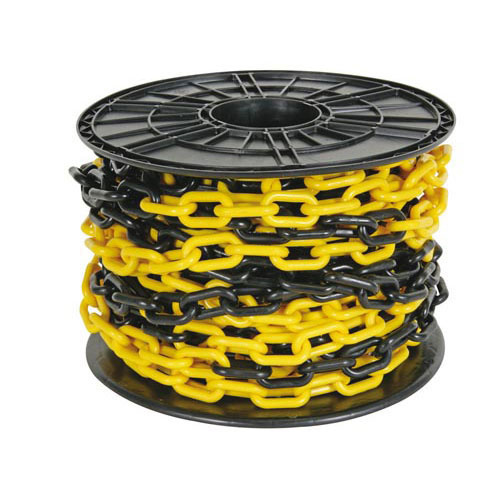 Geel-zwarte ketting 8mm op haspel 25m
